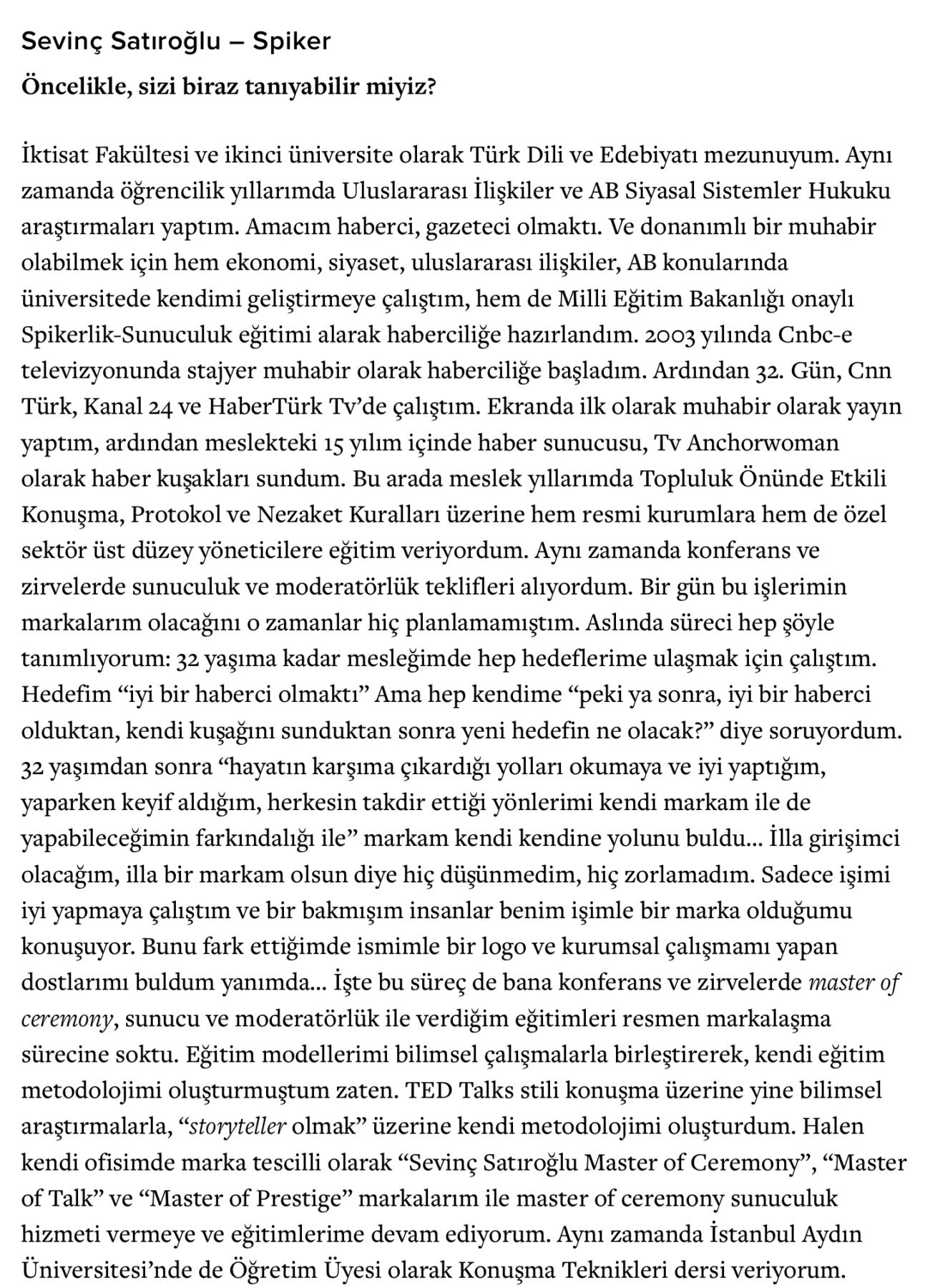 Sevinç Satıroğlu Sunucu Master of Ceremony Konuşma Hitabet Koçluk Danışman Eğitmen Uplifers 2